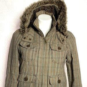 ROXY Comfortable & Warm Brown Plaid Jacket